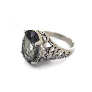 Černý prstýnek s kamínkem