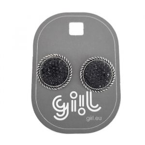 Peckové náušnice černo-stříbrná placička GIIL
