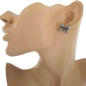 Peckové náušnice-starostříbrné mašle s volnými konci GIIL