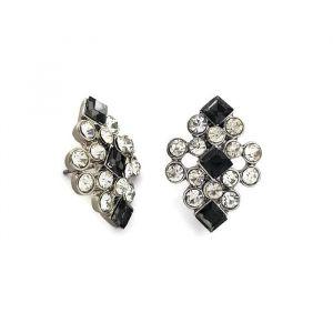 Černý lesklé diamantíkové náušnice