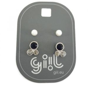 Sada peckových náušnic perličky a kamínky (černá a šedá barva) GIIL
