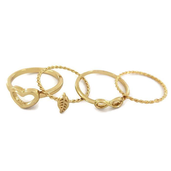 Čtyři minimalistické prstýnky,lístek, srdce, nekonečno a drátek GIIL