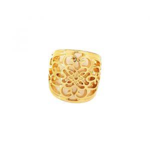 Velký zlatý krajkovaný prsten do tvaru květin