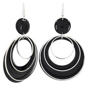 Černé lesklé visací kruhy se stříbrnou