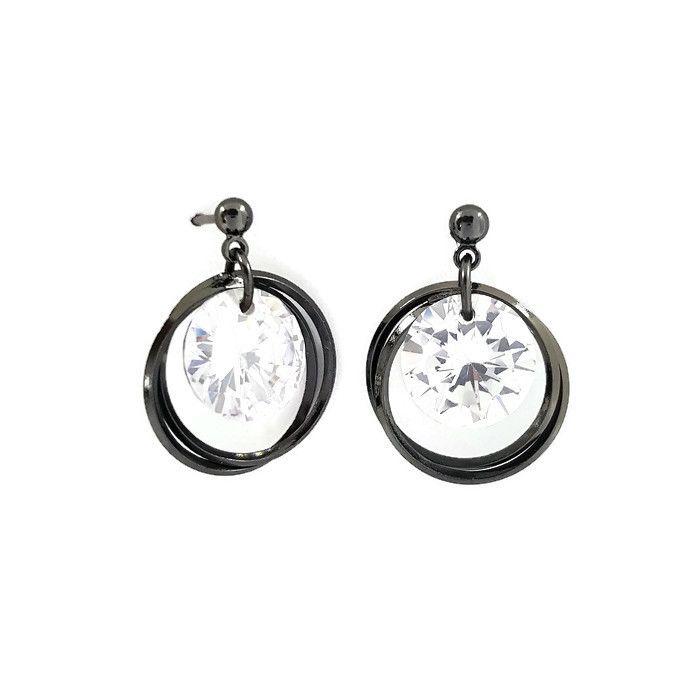 Visací náušnice černé kroužky s čirým kamínkem GIIL