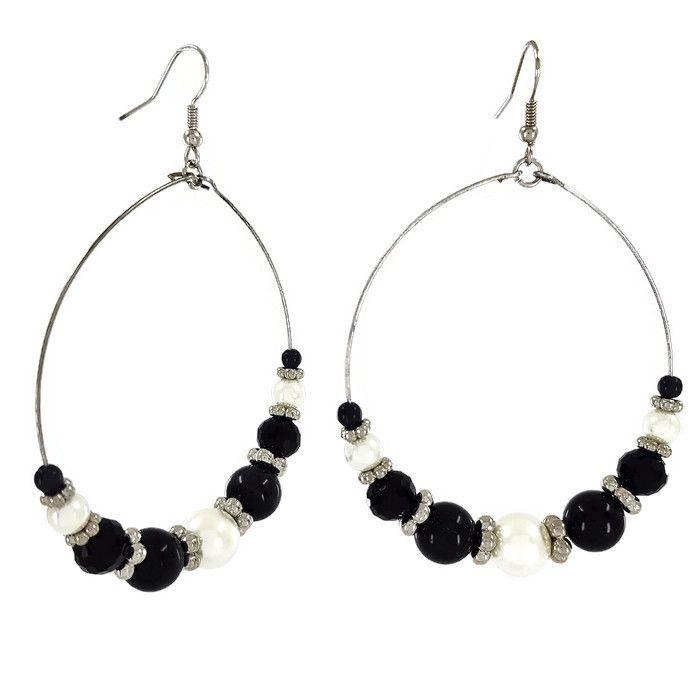 Visací náušnice kruhy s černými a bílými perličkami