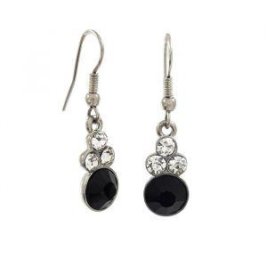 Černé visací náušnice s ozdobnými stříbrnými kamínky