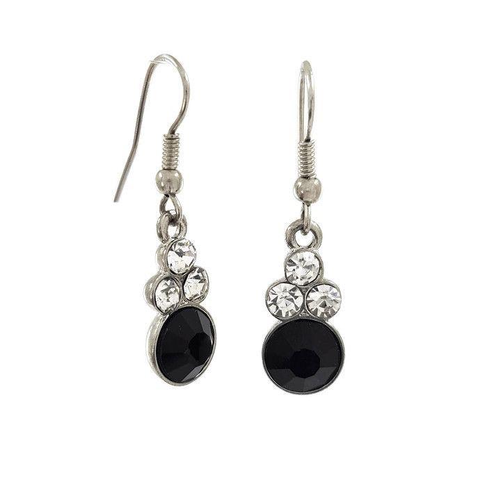 Visací náušnice s černými a čirými kamínky