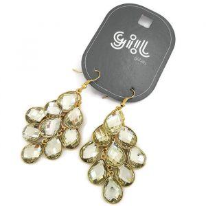 Zlaté visací náušnice skládané s kamínkových slziček GIIL