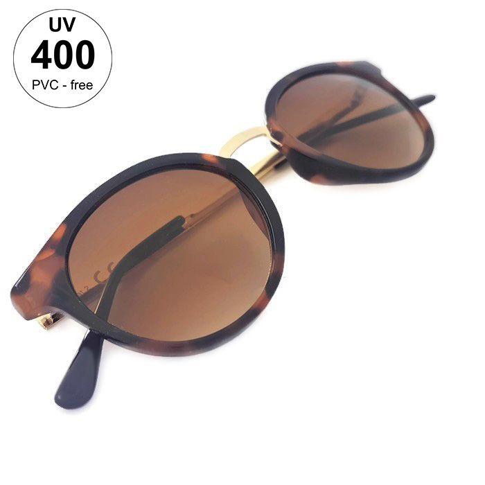 Zakulacené dámské brýle se vzorem a zlatými doplňky GIIL