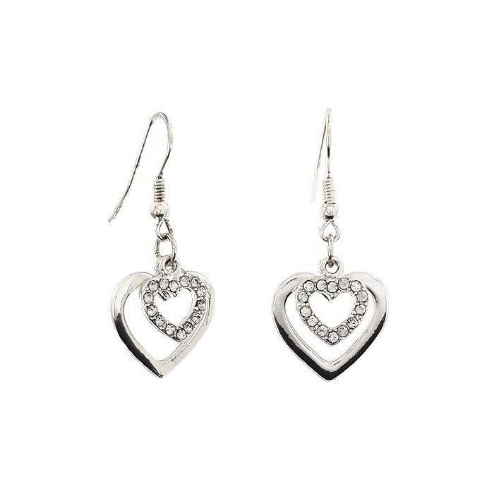 Dvojitá kamínková srdíčka stříbrné barvy GIIL