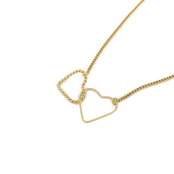 Náhrdelník spojené srdce ve zlaté barvě GIIL