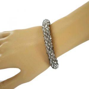 Náramek na ruku s průhledno šedýmí korálky