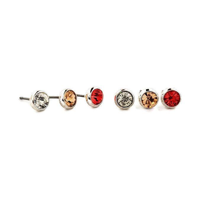 Náušnice pecky (3 páry) s kamínky v různých barvách GIIL