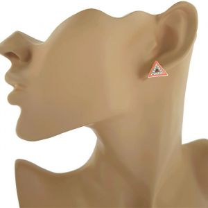 Náušnice pecky s trojúhelníkem s kamínky GIIL