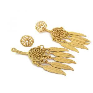 Náušnice lapač snů v zlaté barvy 2v 1 GIIL