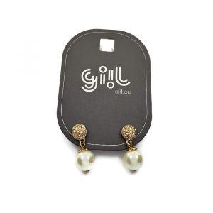 Náušnice zlaté barvy vykládané kamínky a visací perličkou GIIL