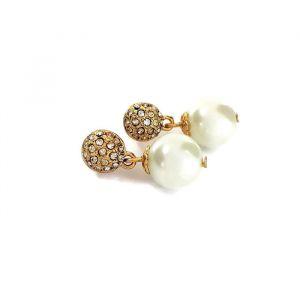 Náušnice vykládané kamínky a perličkou