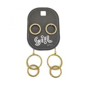 Náušnice zlaté kroužky s kamínky 2v1 GIIL