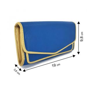Modrá dámská peněženka se zlatým lemováním Ystrdy