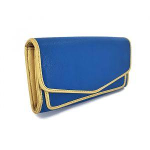 Modrá dámská peněženka se zlatým lemováním