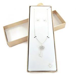 Set náušnic a náhrdelníku s přívěskem ve tvaru klíčku 1 se srdíčkem
