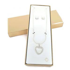Set náušnic a náhrdelníku s přívěskem ve tvaru srdce GIIL