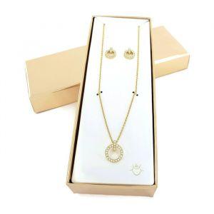 Set náušnic a náhrdelníku s přívěskem ve tvaru kroužku