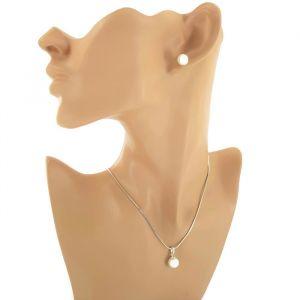 Stříbrná sada náušnic a náhrdelníku s perličkou GIIL