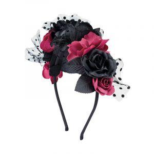 Čelenka s černo a bordó květy