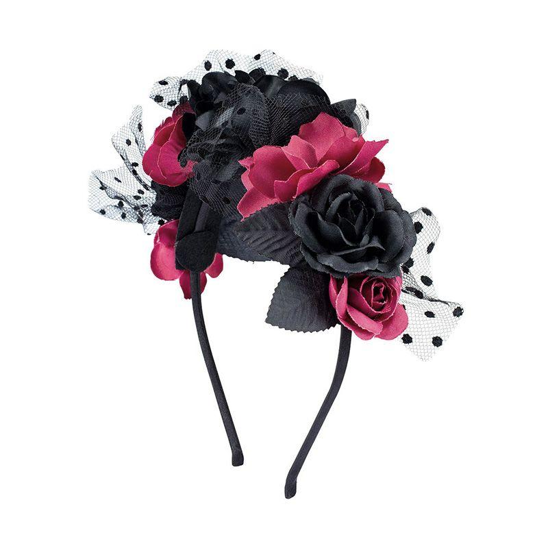 Čelenka s černo a bordó červenými květy