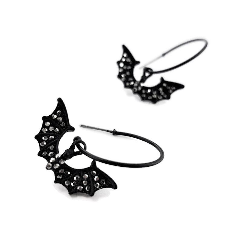 Náušnice černé kruhy s netopýrem