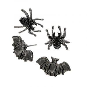 Set dvou malých párů náušnic pavouci a netopýři