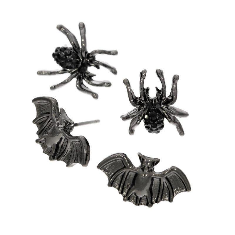 Set dvou malých párů náušnic pavouci a netopýři GIIL