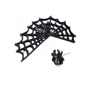 Černá pavučina s pavoučkem.