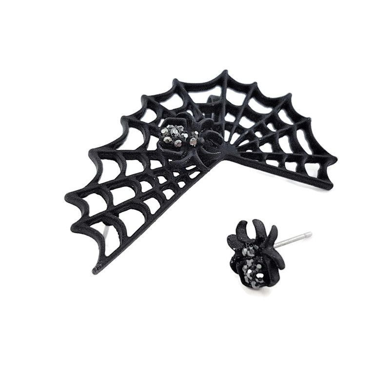 Černá pavučina s pavoučkem a malým pavoukem