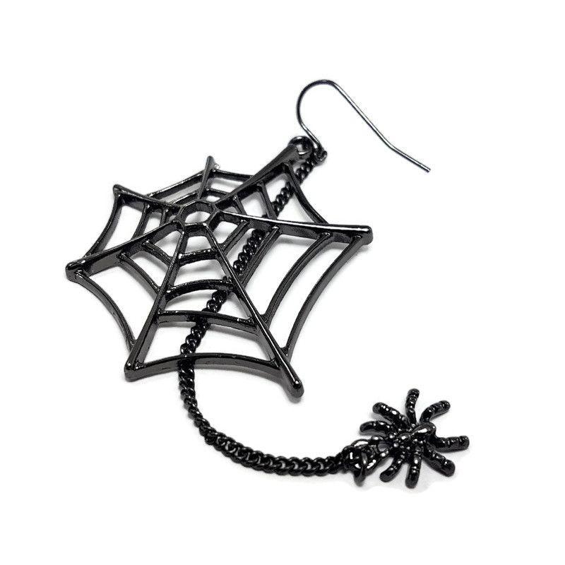 Náušnice pavučina s malým visícím pavoučkem