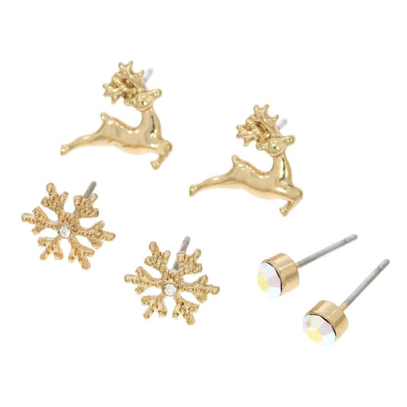 Peckové náušnice kamínek, vločky, sobík ve zlaté barvě