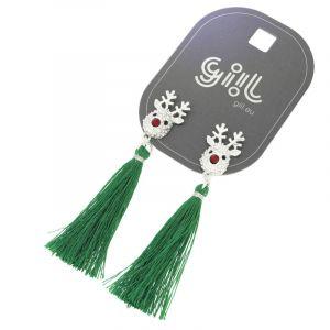 Náušnice sobík se zeleným střapcem GIIL