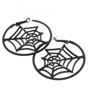 Náušnice kruhy vyplněné pavučinou