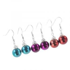 Náušnice vánoční koule ve třech barvách