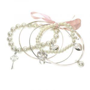 Růžová sada náramků s perličkami a mašličkou
