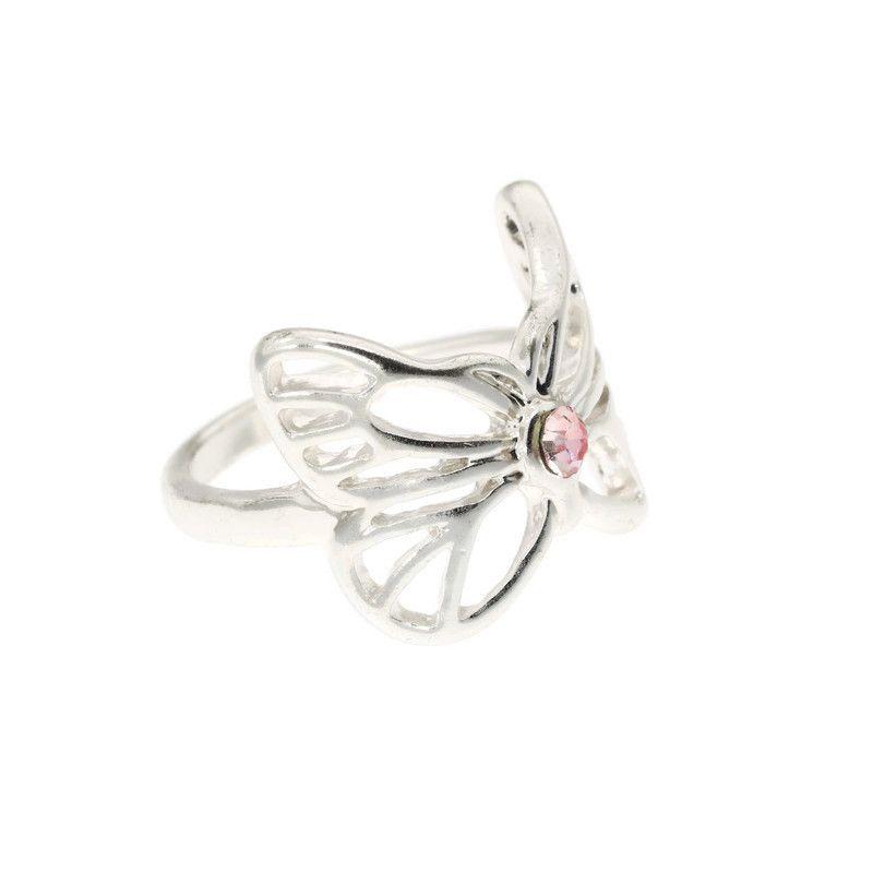 Růžový motýlek s kamínkem prstýnek