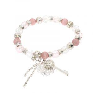Růžový náramek s klíčkem